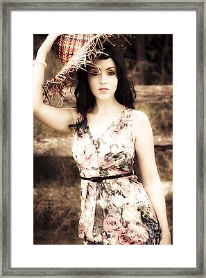 Woman From A Past Vintage Summer Framed Print