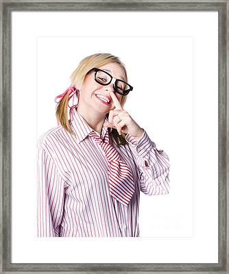 Woman Giving A Tip For A Race Framed Print
