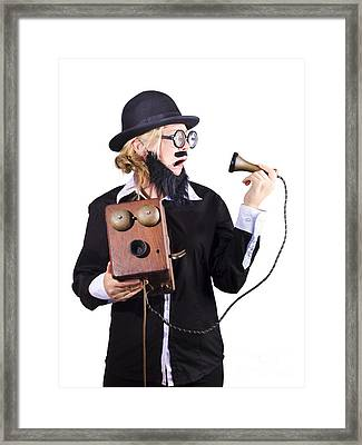 Woman Holding Antique Telephone Framed Print