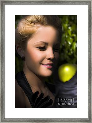 Woman Holding Apple Framed Print by Jorgo Photography - Wall Art Gallery