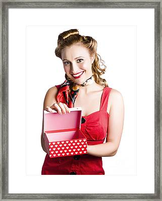 Woman Holding Gift Box Framed Print by Jorgo Photography - Wall Art Gallery