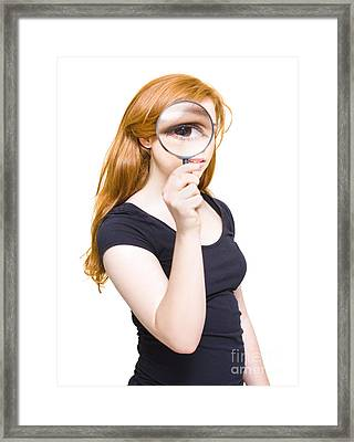 Woman Holding Looking Glass Or Magnifying Glass Framed Print by Jorgo Photography - Wall Art Gallery