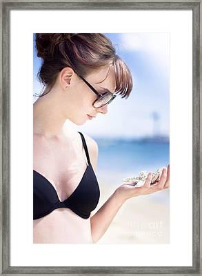 Woman Holding Marine Life Framed Print