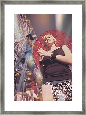 Woman Holding Parasol Framed Print by Jorgo Photography - Wall Art Gallery
