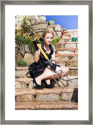 Woman Holding Pitchfork Framed Print by Jorgo Photography - Wall Art Gallery