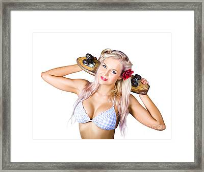 Woman Holding Skateboard Framed Print by Jorgo Photography - Wall Art Gallery