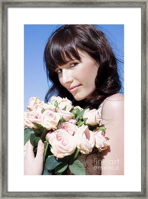 Woman In A Rose Romance Framed Print by Jorgo Photography - Wall Art Gallery
