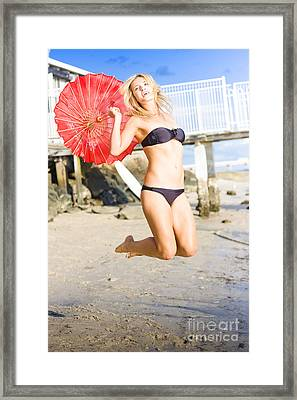 Woman In Bikini Jumping Framed Print by Jorgo Photography - Wall Art Gallery
