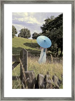 Woman In Country Field Framed Print