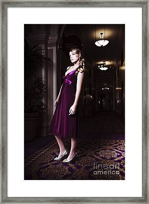 Woman In Hotel Lobby Framed Print