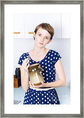 Woman In Kitchen With Sugar Jar Framed Print by Jorgo Photography - Wall Art Gallery