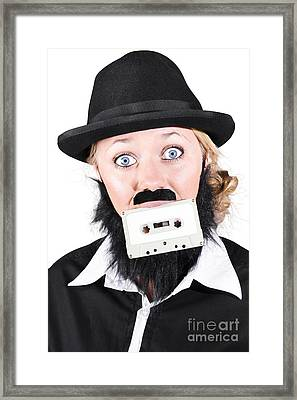 Woman In Male Costume Holding Cassette In Mouth Framed Print by Jorgo Photography - Wall Art Gallery