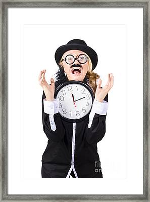 Woman In Panic With Behind Schedule Clock Framed Print
