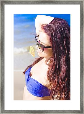 Woman In Tropical Paradise Framed Print