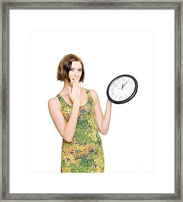 Woman Late For The Time Schedule Deadline Framed Print by Jorgo Photography - Wall Art Gallery
