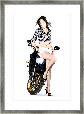Woman Leaning On A Motorbike Framed Print by Jorgo Photography - Wall Art Gallery