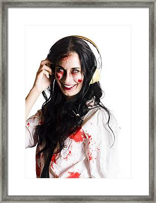 Woman Listening To Death Metal Framed Print by Jorgo Photography - Wall Art Gallery