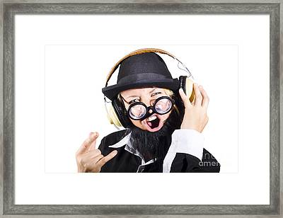 Woman Listening To Rock Music Framed Print