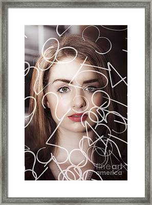 Woman Looking At Numbers Framed Print