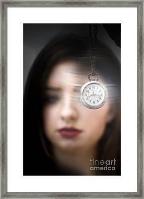 Woman Looking At Pocket Watch Framed Print by Jorgo Photography - Wall Art Gallery