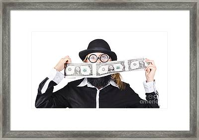 Woman Making Crazy Money Framed Print