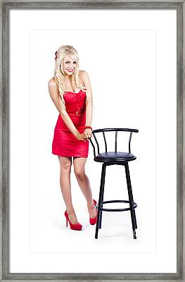 Woman Next To Bar Stool Framed Print by Jorgo Photography - Wall Art Gallery