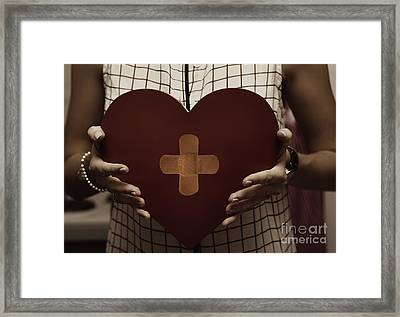 Woman Nursing Broken Heart From Divorce Framed Print