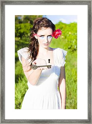 Woman Offering Key To Her Heart Framed Print by Jorgo Photography - Wall Art Gallery