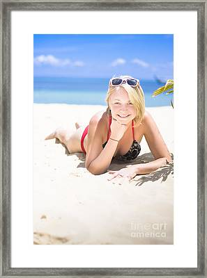 Woman On A Happy And Relaxing Holiday Break Framed Print by Jorgo Photography - Wall Art Gallery