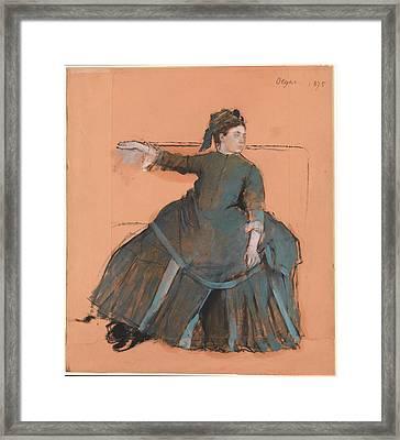 Woman On A Sofa Framed Print by Edgar Degas