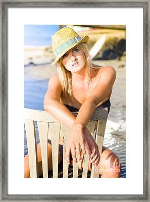 Woman On Holiday Vacation Framed Print by Jorgo Photography - Wall Art Gallery