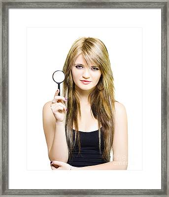 Woman On Search To Find Clues And Answer Questions Framed Print by Jorgo Photography - Wall Art Gallery