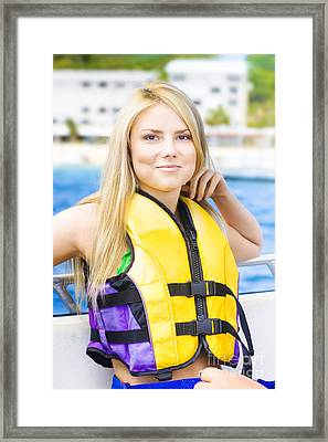 Woman On Sightseeing Boat Tour Framed Print by Jorgo Photography - Wall Art Gallery