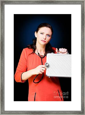 Woman Performing Business And Finance Health Check Framed Print by Jorgo Photography - Wall Art Gallery