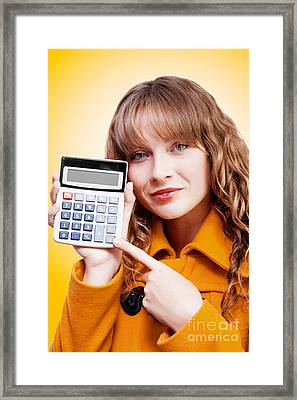 Woman Pointing To Calculator Keypad Framed Print