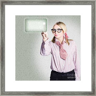 Woman Pressing Touch Screen Technology Button Framed Print by Jorgo Photography - Wall Art Gallery