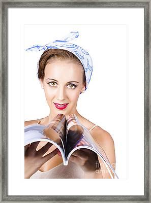 Woman Reading Fashion Magazine Framed Print