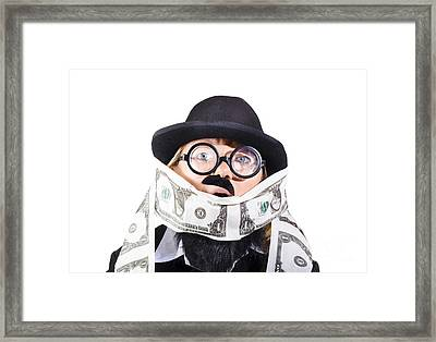 Woman Rolling Rich With Us Money Framed Print by Jorgo Photography - Wall Art Gallery
