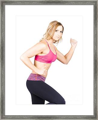 Woman Running During Wellness Workout On White Framed Print