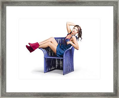 Woman Sitting On A Chair Framed Print by Jorgo Photography - Wall Art Gallery