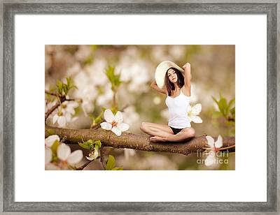Woman Sitting On Tree Framed Print by Aleksey Tugolukov