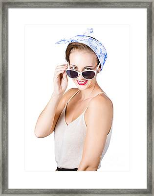 Woman Smiling Over Sun Glasses Framed Print by Jorgo Photography - Wall Art Gallery