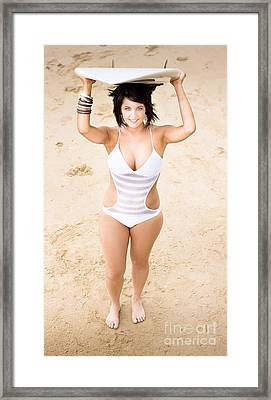 Woman Smiling With Surf Board Framed Print by Jorgo Photography - Wall Art Gallery