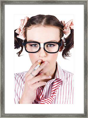 Woman Smoking Cigarette Framed Print by Jorgo Photography - Wall Art Gallery