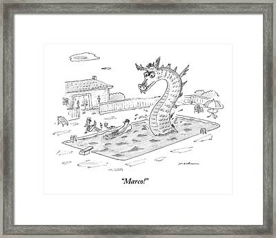 Woman Speaks To Man In A Pool With The Lochness Framed Print by Michael Maslin