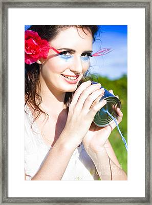 Woman Taking Into Vintage Phone Framed Print by Jorgo Photography - Wall Art Gallery