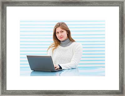 Woman Using Laptop Framed Print by Wladimir Bulgar/science Photo Library