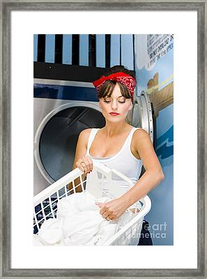 Woman Washing Clothes Framed Print by Jorgo Photography - Wall Art Gallery