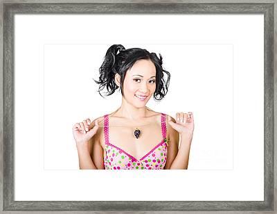 Woman Wearing Diamond Encrusted Jewellery Pendant Framed Print