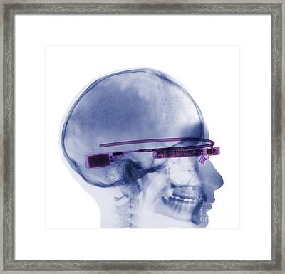 Woman Wearing Google Glass X-ray Framed Print by Ted Kinsman